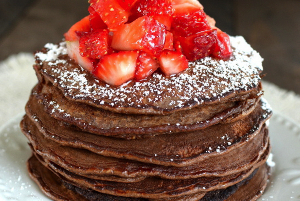 Chocolate Banana Oatmeal Pancakes